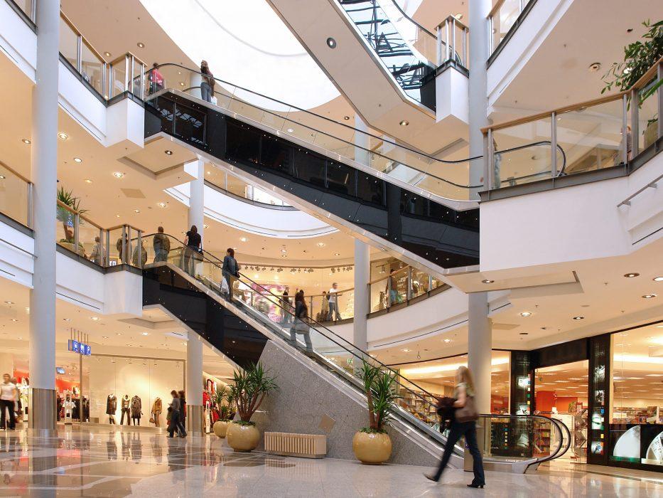 Shoppers in multilevel shopping center